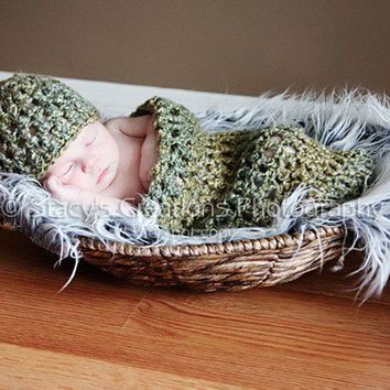 Baby Cocoon and Hat Crochet Baby Hat Crochet by Monarchdancer
