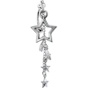 Handcrafted Chain Burst of Stars Top Mount Dangle Belly Ring
