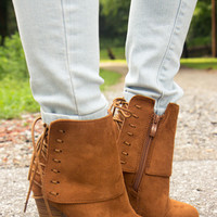 Laced Up Booties - Cognac - Final Sale