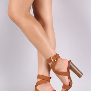 Liliana Suede Open Toe Strappy Ankle Wrapped Chunky Heel