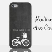 Life Is A Beautiful Ride Vintage Bike Quote Chalkboard Bicycle Chalk Custom White Samsung Galaxy Edge iPhone 5s 4 4s 6 Plus Tough Phone Case