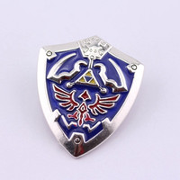 Game Series Clothing Accessory The Legend of Zelda Shield Zinc Alloy Pin Brooch 2 Colors