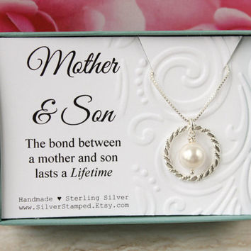 Mothers Day from Son Gift for mom sterling silver necklace eternity circle with Swarovski pearl gift box Mother and son gift from son