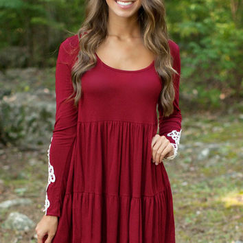 Red Lace Crochet Long Sleeves Loose Tiered Dress
