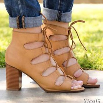 Women's Sandals Chunky Heel Lace Up Open Toe Cutout High Heel Sandal Shoes New