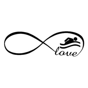 Swimming Pool beach 20X6.3CM INFINITY lOVE SWIMMING SWIM Sticker Vinyl Decal Car-styling Car Accessories S8-0734Swimming Pool beach KO_14_1