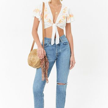 Embroidered Tie-Front Crop Top