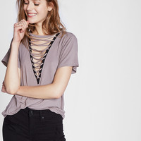 Lace-Up Front Girlfriend Tee