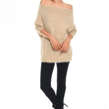Women's Fuzzy Off the Shoulder Sweater