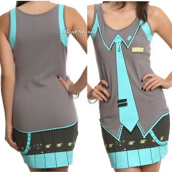 Licensed cool Vocaloid Hatsune Miku Body Hugging Tank Costume Cosplay Dress Juniors XS-XL NEW