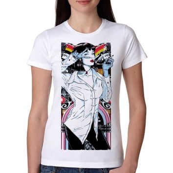 Mia wallace Summer Hot Sale T shirt Women Mia wallace t-shirt Round Neck All Match Casual Fashion girl Tops tees