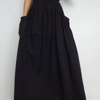 Women Maxi Long Skirt , Casual Gypsy, Bohemian , Cotton Blend In Black (Skirt *M6).