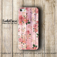 FLORAL IPHONE 5S CASE Pink Flower Pattern on wood iPhone Case iPhone 5 Case iPhone 4 Case iPhone 5c iPhone 4s