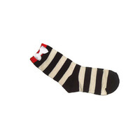 One Size Ankle Boot Bow Striped White and Brown Orange Top Socks