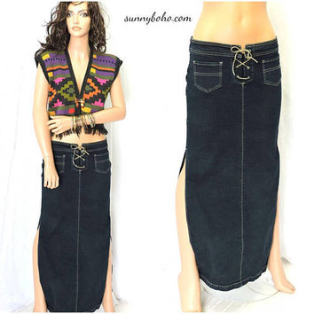 90s denim maxi skirt / S / long boho jean skirt / size 5 / 6 leather lace up denim maxi skirt / dark indigo denim skirt / SunnyBohoVintage
