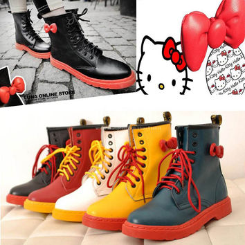 Womens Genuine Leather Shoes Color Block 3 8 Eye Eyelet Stitch Bow Lace Up Ankle Safety Combat Boots Free Shipping