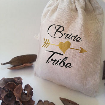 Bride tribe, Bachelorette party, Bachelorette favors, bridesmaid gift, bride tribe favor, bachelorette, team bride, gold favor bag