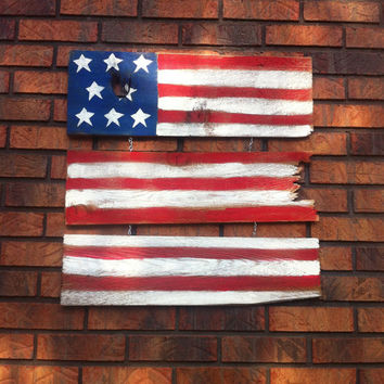 Fourth of July Flag, US Flag,  OOAK, Patriotic Sign, Red White & Blue, Sign, Flag, Rustic Wooden Sign, Wooden Flag