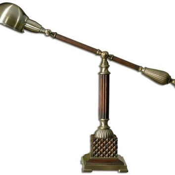 Novelty Table Lamp - Aged Bronze Metal Body With Polished Wood Tone Finish