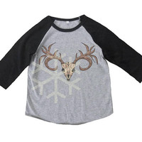 Deer skull shirt toddler reindeer animal shirt- 3/4 sleeve tshirt -Child shirt -Raglan shirt- Baseball tshirt -Kids tshirts