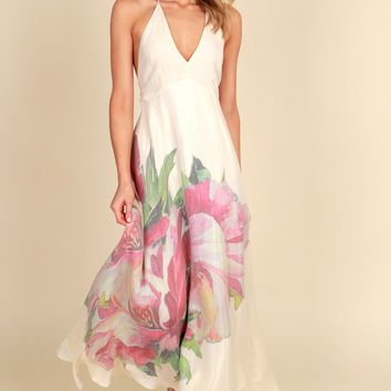 Don't Be Lily Floral Dress Cream/Pink