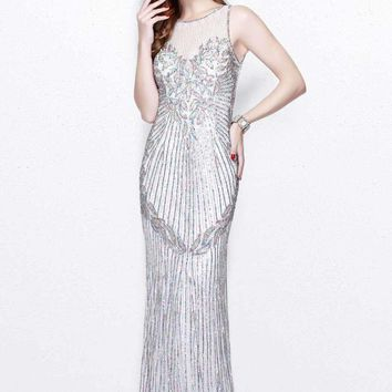 Primavera Couture - Multi-Color Sequined Sleeveless Long Dress 1872