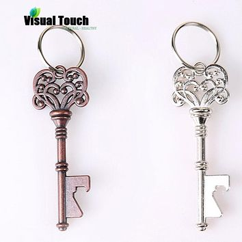 Visual Touch Key Shape Beer Bottle Opener Vintage Retro Keychain Opener Key Ring Metal Bronze/Silver Portable Gifts