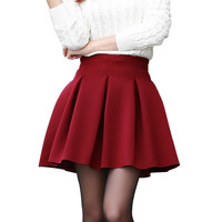 Fashion Sexy Women Skirt Fall Witer Warm Short Skirt Plus Size High Waist Skirts High-quality Cotton Space Tutu Pleated Skirt