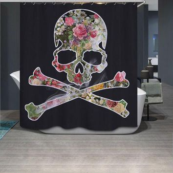 DCCKL72 180*180cm Vogue Flower Skull Butterfly Custom Shower Curtain Bathroom Decor Fashion Design #86326