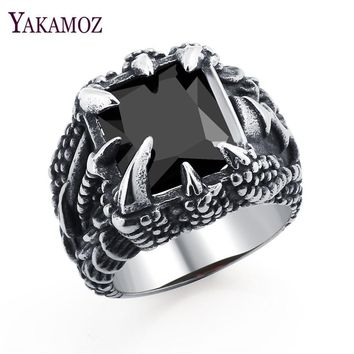YAKAMOZ Fashion Black Big Stone Men's Rings Cool Punk Stainless Steel Claw Rings for Men Dragon Jewelry Personality Gifts 2017