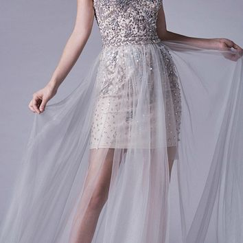 Silver Off-Shoulder Beaded Prom Gown with Tulle Overlay