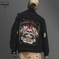 Black Denim Skulls Patch Streetwear Jacket