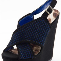 Coordinated Colors Cross Over Platform Wedges - Black from Glam at Lucky 21