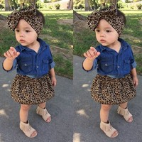 3PCS Toddler Kids Baby Girl Denim Shirt+Skirt Dress+Headband Outfits Clothes Set