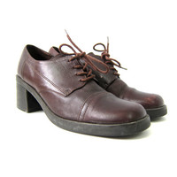 Vintage Brown leather Oxfords Chunky Heel Shoes Lace Up Shoes Chunky library shoes women's size 8.5 8 1/2