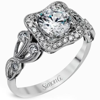 Simon G. Halo Vintage Inspired Filigree Diamond Engagement Ring