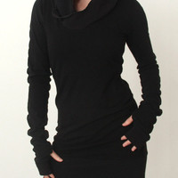 Black Long Sleeve Hooded Mini Dress