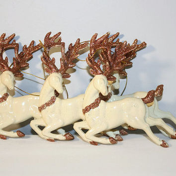 Vintage Reindeer Christmas Ornaments, Holiday Home Decor
