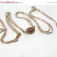 Spring Sale Ruby Slide Necklace Victorian Rose Gold Watch Chain 1910s Jewelry Art Deco 60 Inches