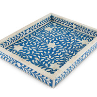 Bone Inlay Tray - Blue
