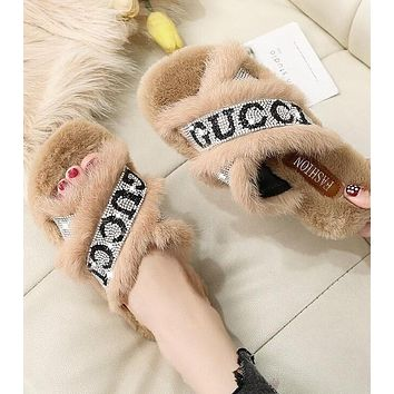 GUCCI Autumn Winter Newest Popular Women Casual Diamond Fur Sandals Slippers Shoes Khaki