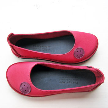 Ballet flats, EDITH Button, Handmade Leather Whimsical Shoes by Fairysteps in Pink, Purple, pick a colour