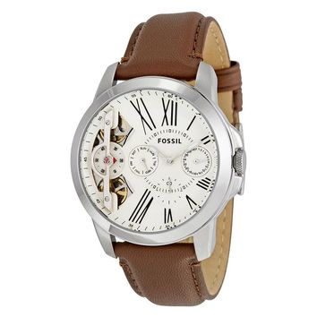 Fossil Grant Twist Multifunction Beige Dial Brown Leather Mens Watch ME1144