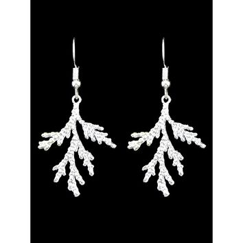Simple Silver Color Branch Earrings