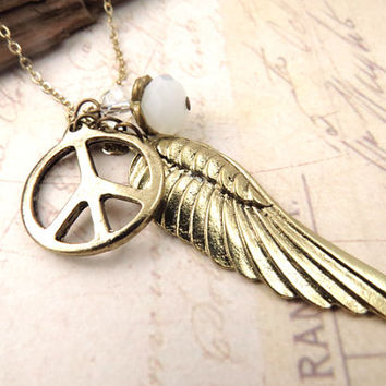 Wing and Peace Necklace with Crystal Accent