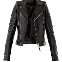 Classic leather zip biker jacket