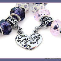 Mother & Daughter Murano Glass Leather European Charm Bracelet Set
