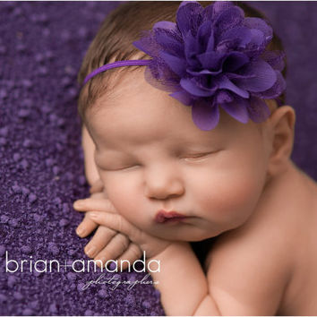 Purple Baby Headband Purple Flower Headband Purple Newborn Headband Fower Girl Headband Newborn Photography Prop Lace Headband