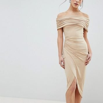 ASOS DESIGN Petite kimmi slinky ruched bardot midi dress at asos.com