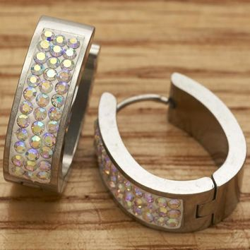 Stainless Steel Women Small Hoop, with Aurore Boreale Swarovski Crystals, by Folks Jewelry
